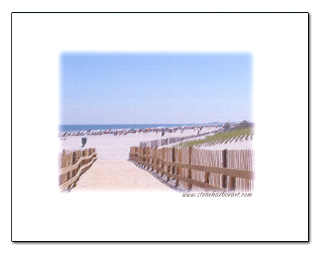 Note card of beach entrance